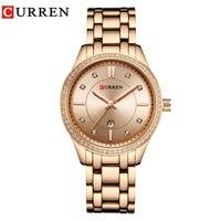 CURREN Watch Women Casual Fashion Quartz Wristwatches Ladies Rhinestone Gift Crystal Design Bracelet Auto Date relogio feminino