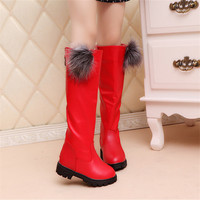 Boots Girls Leather Shoes Kids Winter Spring Slid Proof Boot Snow Boots Solid Knee Level Shoes