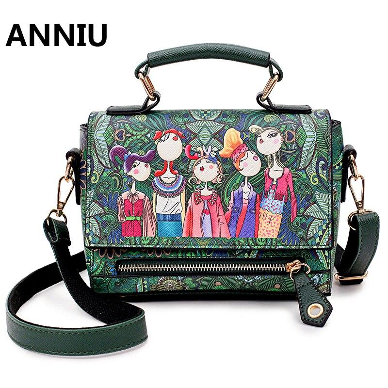 ANNIU 새로운 패션 여성의 3 차원 만화 인쇄 어깨 가방 디자이너 고품질의 Laday 플랩 유명 브랜드 froest 녹색 핸드백