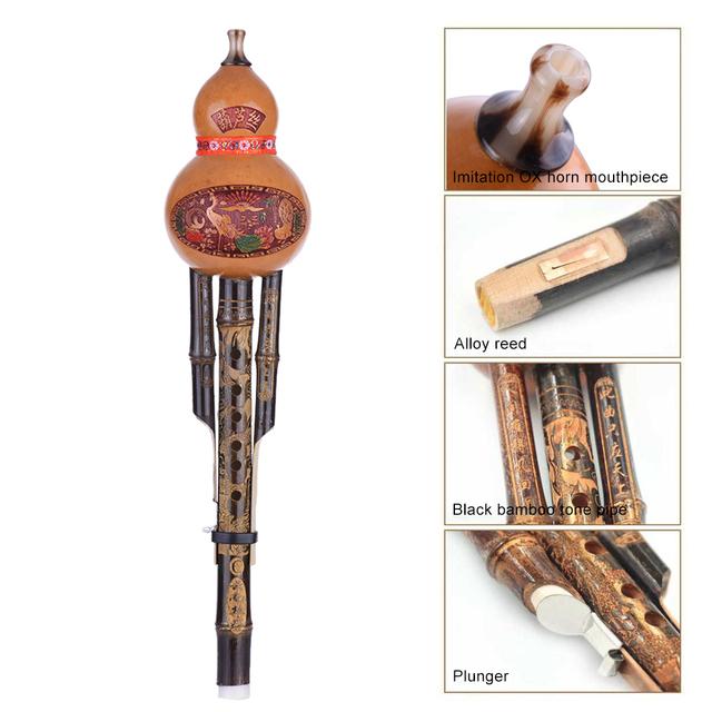 Handmade Black Bamboo Flute Ethnic Musical Instrument Key of C with Case for Beginner Music Lovers Been Sapera Snake Charmer