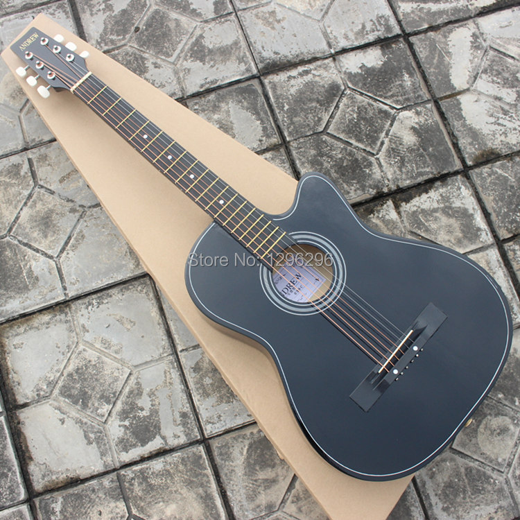 free shipping the clavichord 38inch andrew wood guitar black acoustic guitar about 98 cm length. Black Bedroom Furniture Sets. Home Design Ideas