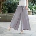 Women Autumn Grey Color Wide Leg Pants Female Belt Elastic Waist Loose Ankle-length Pants Ladies Casual Pantalones