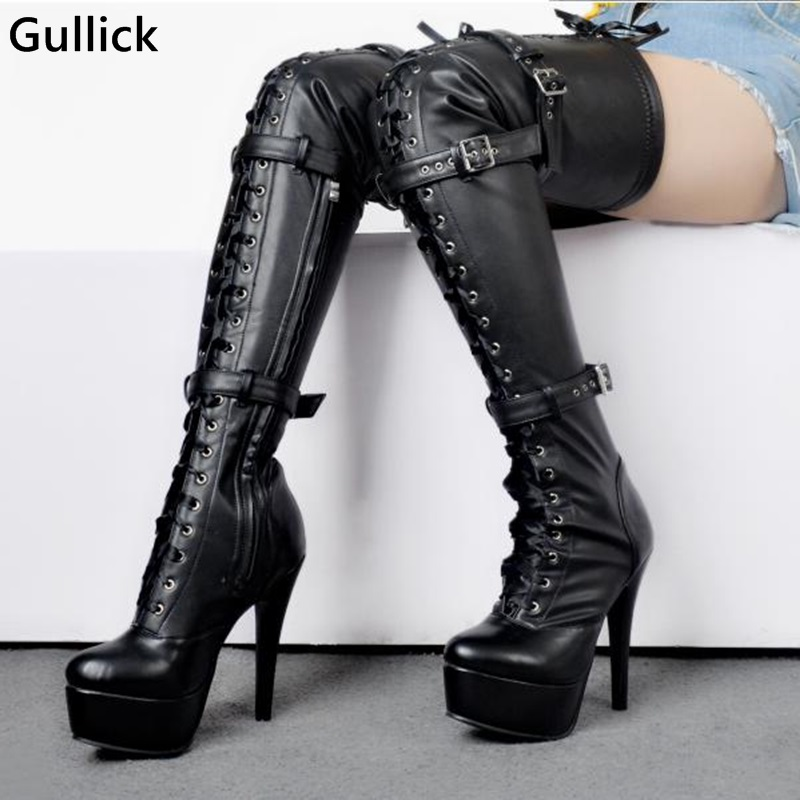 Gullick Over The Knee Ladies Night Club Sexy Platform Boots Side Zip Buckle Decor High Quality Shoes Hollow Out Lace Up Big Size breasted hollow out zip up teddy