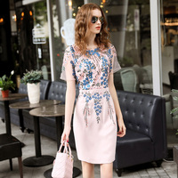 Plus Size Xxxl Women Dress 2017 O Neck Short Sleeve Floral Embroidery A Line Elegant Slim