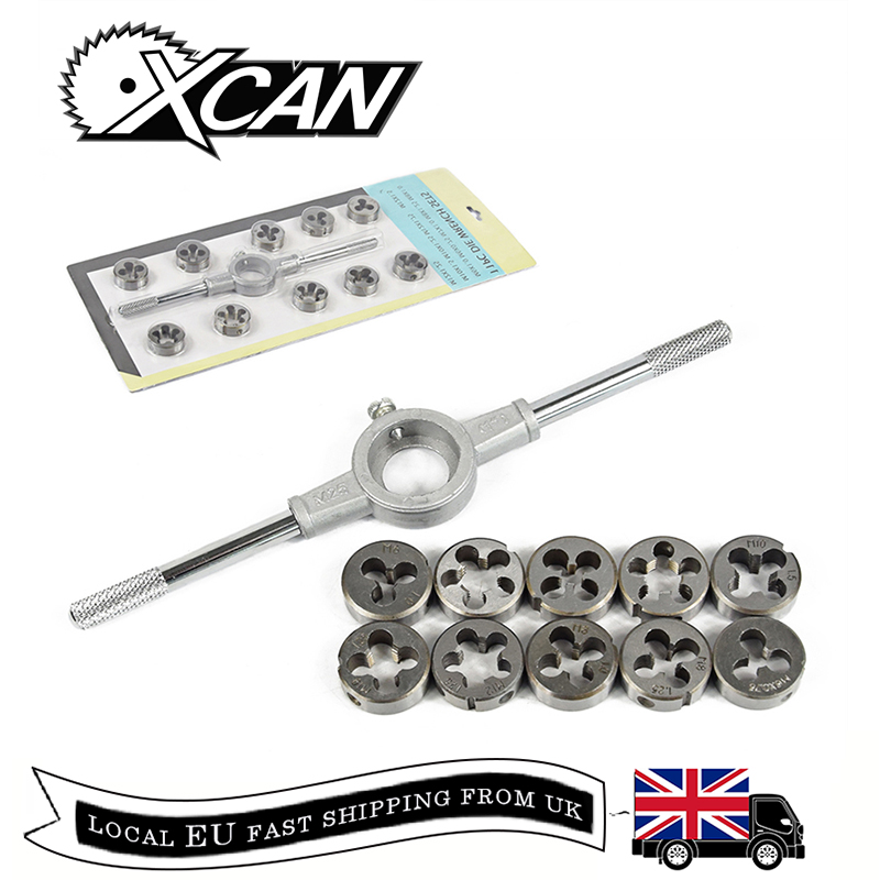 XCAN 11pcs HSS Die Wrench Set Metric Screw & Die External Thread Cutting Tapping Hand Tool Kit Tap And Die Sets