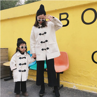 Mother Daughter Son Winter Berber Fleece Long Coat Family Matching Solid Warm Outfits Thick Mom Girls Boys Horn Button Matching