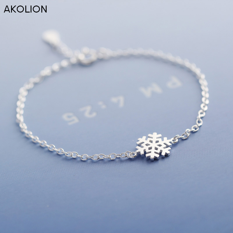 AKOLION אופנה 925 כסף סטרלינג צמידי קסם צמיד לילדה נשים עם שלג פתית שלג מסיבת חג מולד מתנות
