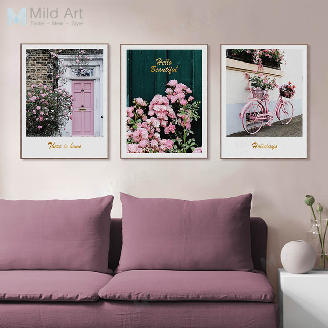 Pink Flowers Rose Floral Garden Bike Posters Prints Photo Nordic Style  Living Room Wall Art Pictures