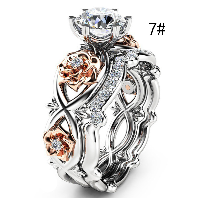 Silver Color Elegant Flower Rings for Women Crystal Rhinestone White Rings Female Personalized Rings Bridal Party Charm Jewelry in Rings from Jewelry Accessories
