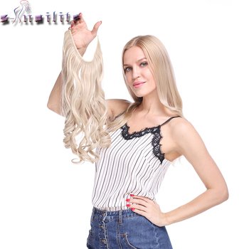 S-noilite 20 inch Invisible Wire No Clip One Piece Halo Hair Extensions Secret Fish Line Hairpieces Wave Straight Synthetic 1