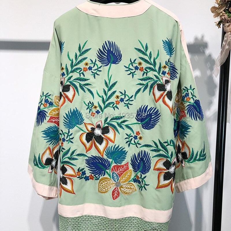 Kimonos 4 Qualité Vestes Glands Manches Fleurs cou Évider V Weave Vert Haute Brodé Version 3 Patchwork Avec FIwAqxw0