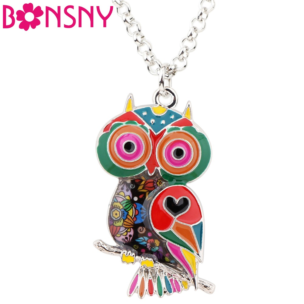 Bonsny Statement Zinc Alloy Floral Owl Bird Choker Necklace Chain Pendant Fashion 2018 New Enamel Jewelry For Women Teens Girl women s bohemia tassel style zinc alloy rhinestone pendant necklace black deep blue