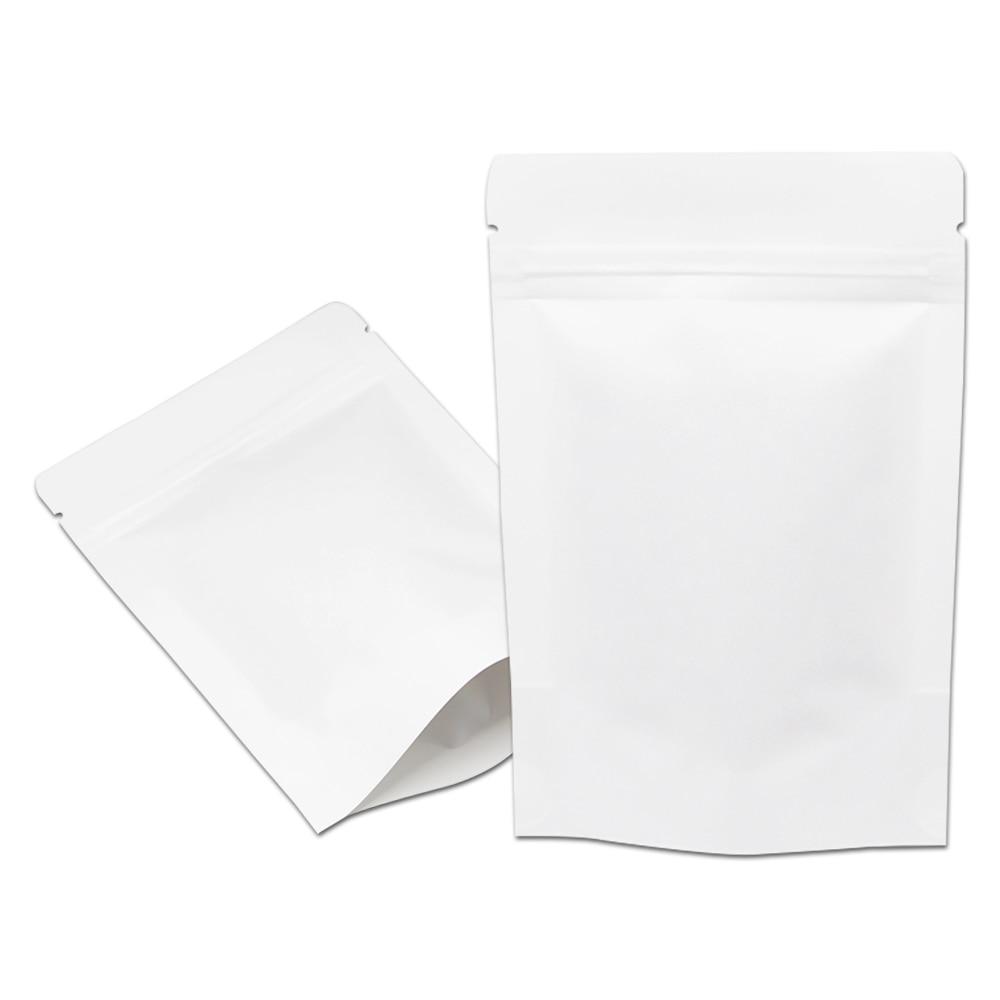 100pcs Lot Variety of Sizes White Kraft Paper Zip Lock Stand Up Food Coffee Storage Packing