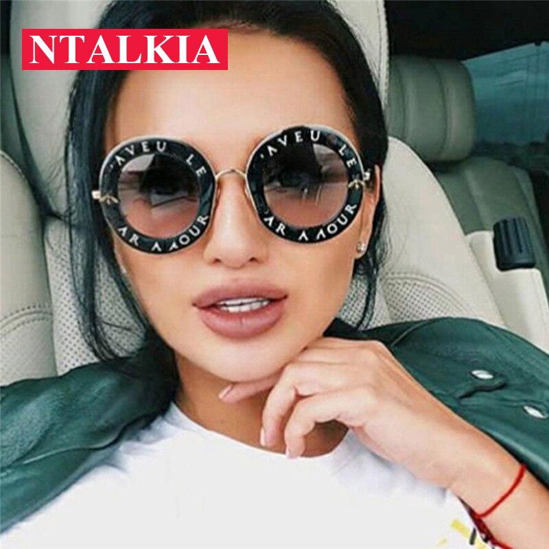 Newest Fashion Round Sunglasses Women Brand Designer Vintage Gradient Shades Sun Glasses Plastic Frame UV400 Oculos Feminino