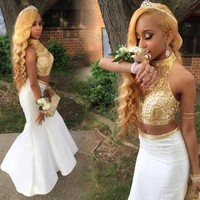 New High Neck Collar Bling Rhinestone Mermaid Fitted Two Piece Prom Dresses 2016 Junior Abiballkleid Crystal