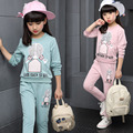 Children girls korea style clothing 2016 autumn spring new Look Back Girl 2 piece casual sets tracksuits for girls kids