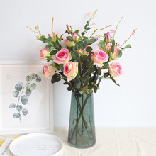 3 heads Real Touch Rose Flowers Decoration rose Silk Artificial branches roses for wedding bouquet decoration