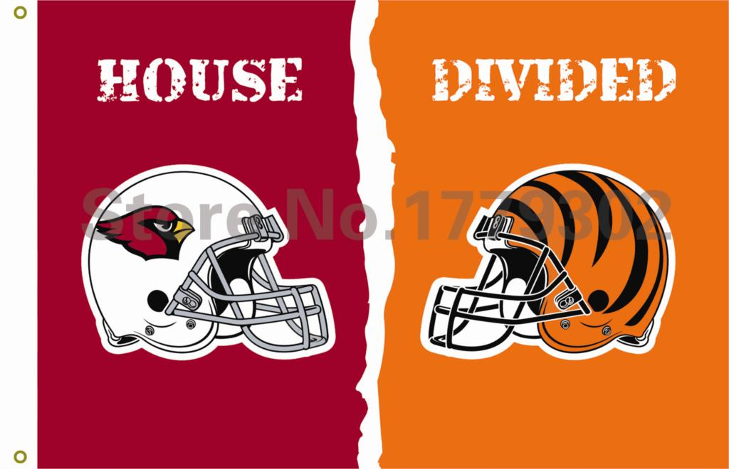 Arizona Cardinals Cincinnati Bengals Stripe helmets House Divided Flag 3ft x 5ft 100% Polyester Patio, Lawn & Garden