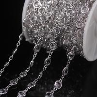 NEW! 3Meter Faceted Clear K9 Optical Glass Crystal Coin Bead Rosary Chains,Plated Silver Brass Flat Round Beaded DIY Necklaces