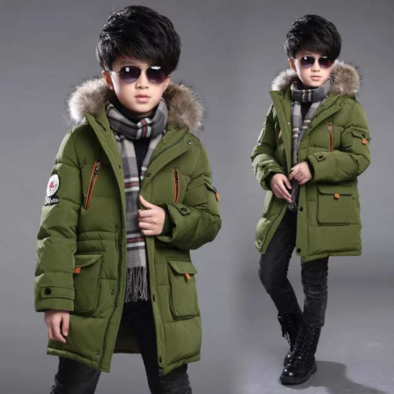 New baby Boys Winter Coat 6 to 14 Years Hooded Children Patchwork Down Baby Boy Winter Jacket Boys Kids Warm Outerwear Parks boys thick down jacket 2018 new winter new children raccoon fur warm coat clothing boys hooded down outerwear 20 30degree