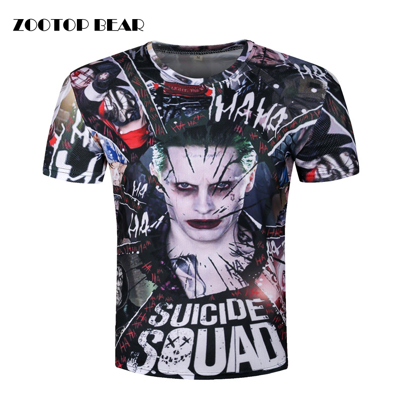 Joker 3d Camiseta Hombre Suicide Squad Camisetas Hip Hop Tops Harley Quinn manga corta Camisetas novedad de la manera ZOOTOP oso