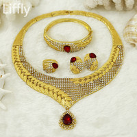 YIWU CZ New Fashion Dubai Lady Gold Jewelry Sets Red Big Crystal Necklace Italy Luxury Bride