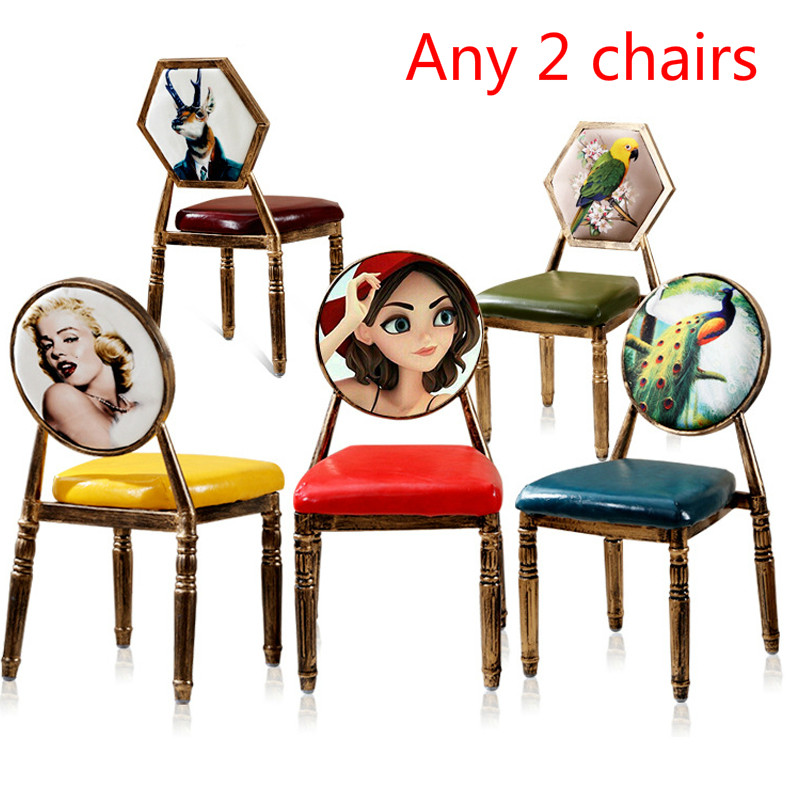 J22 2pcs Pink European retro chair single iron dining stool creative PU makeup stools Stylish nail chairs Soft sponge cushion free shipping dining stool bathroom chair wrought iron seat soft pu cushion living room furniture