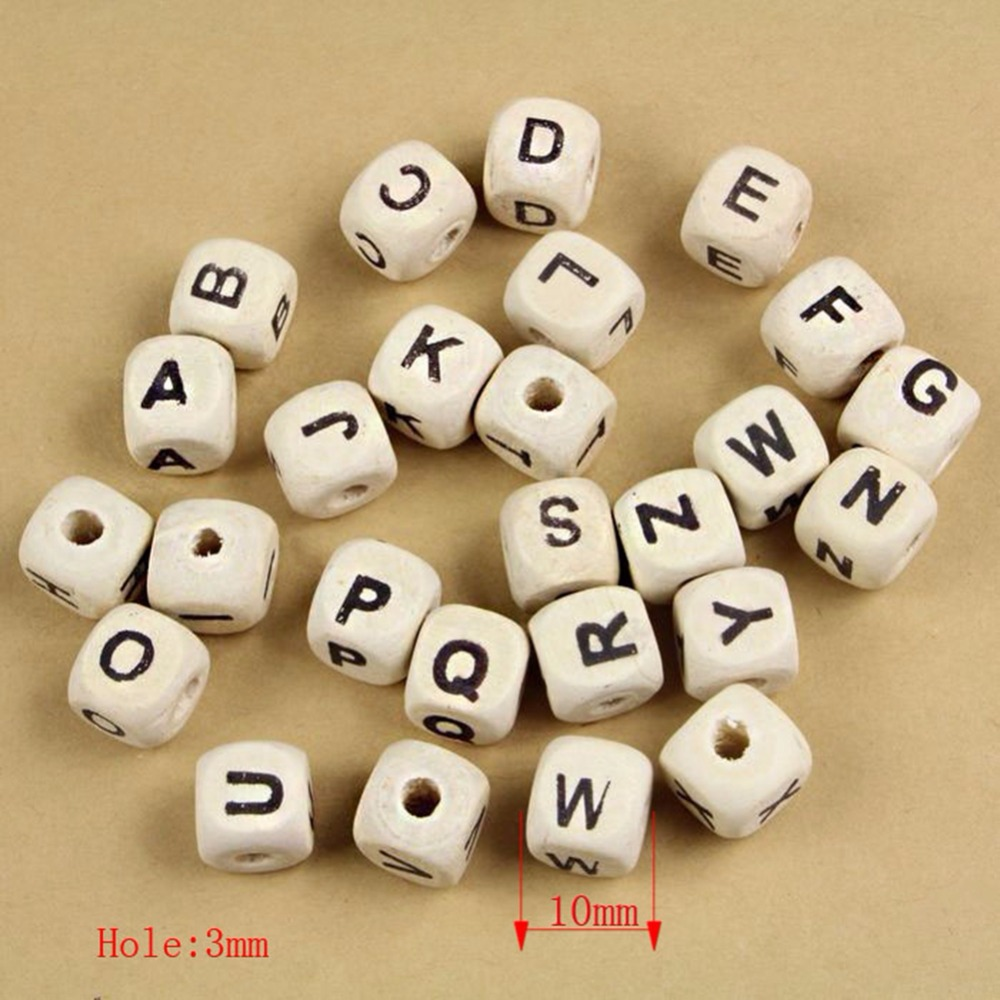 1000 pieces Natural Alphabet/ Letter beads Cube Wood Beads 10x10mm(3/8x3/8) & 8x8mm 32-60