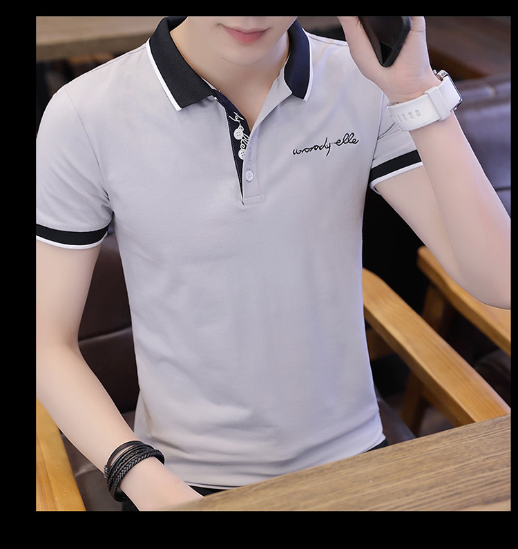 2019 men splicing t-shirts with short sleeves Comfortable in summer youth leisure lapel t-shirts 26
