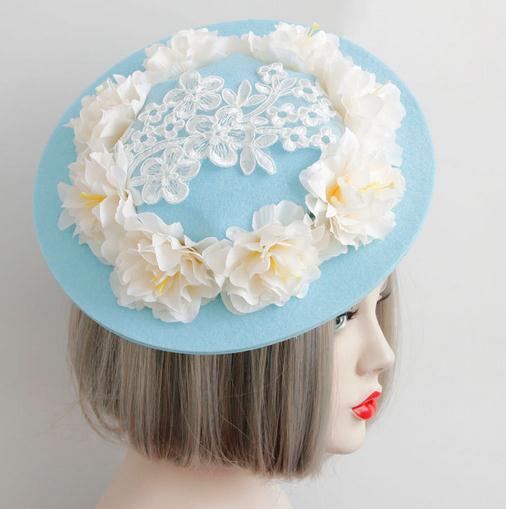 New Women Flowers Hair Accessories Fascinators Hair Clip Goth Ladies Wedding Party Fascinator Felt Hats 1