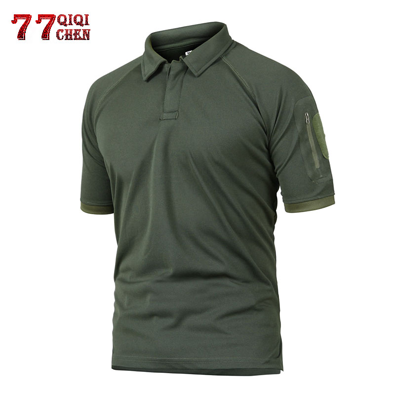 QIQICHEN Tactical Military Polo Shirt Men Summer Army Camo lapel Polo Shirt Man's Breathable Quick Drying Arm Pocket Polo Shirts