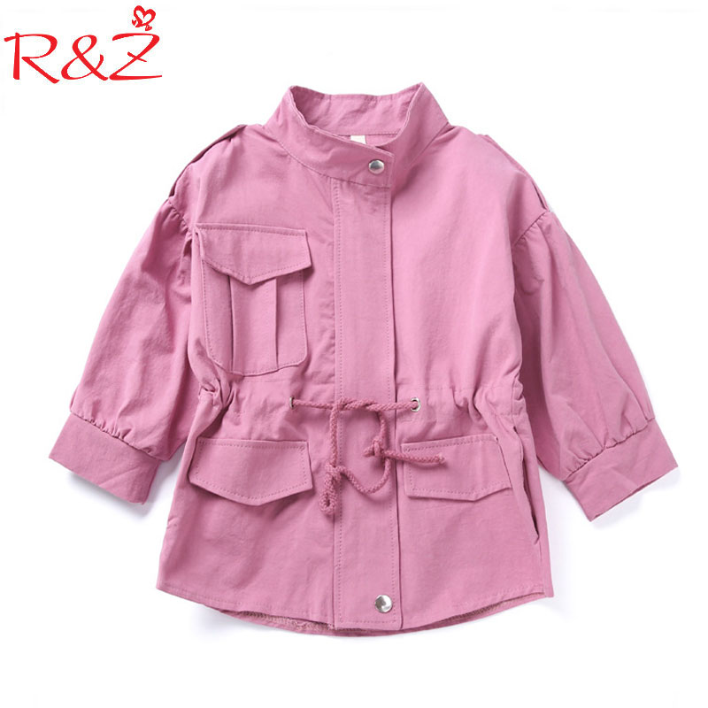 R&Z Baby Girls Clothe Windbreaker 2017 Spring Solid Color Pocket Cotton Long Sleeve Outerwear for Kids Childrens Clothing