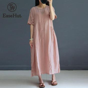 e1f150863 EaseHut vestido de verano 2019 Vestidos de algodón de manga corta de las  mujeres de fiesta vestido suelto vestido largo Maxi Plus tamaño túnica  Elbise
