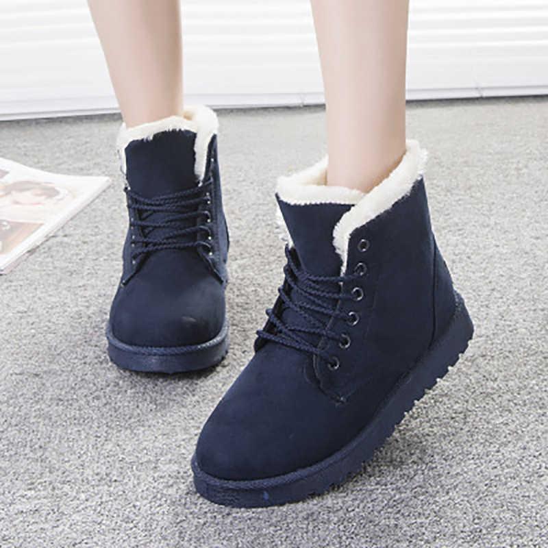 Kadın botları kadın kar botları kış ayakkabı kadın peluş sıcak ayak bileği Botas Mujer Botines yumuşak kışlık botlar