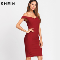 SHEIN Women Elegant Party Dress Red Fold Over Sleeve Sweetheart Neck Dress Off The Shoulder Short