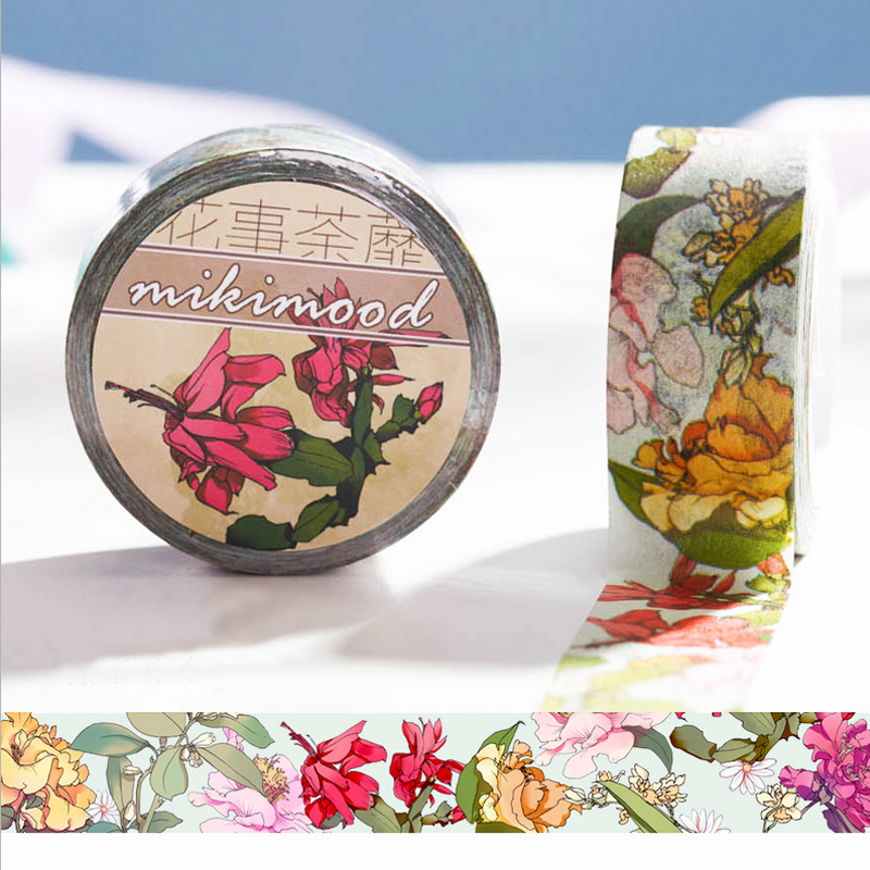 1 x 2cm*10m Blooming Floral washi tape DIY decorative scrapbooking planner masking tape adhesive tape kawaii stationery