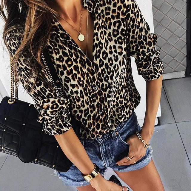 2018 Autumn Women Elegant Fashion Loose Holiday Party Blouse Ladies Long Sleeve Leopard Print Casual Shirt