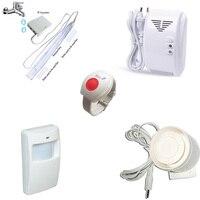 SOS Emergency Panic Button Wireless Water Leakage Detector Siren Flash Gas Leak Alarm PIR Motion Sensor