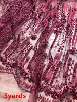 precious beads tube embroidery lace fabric with 3D flowers beautiful beaded french lace fabric for dress visam133