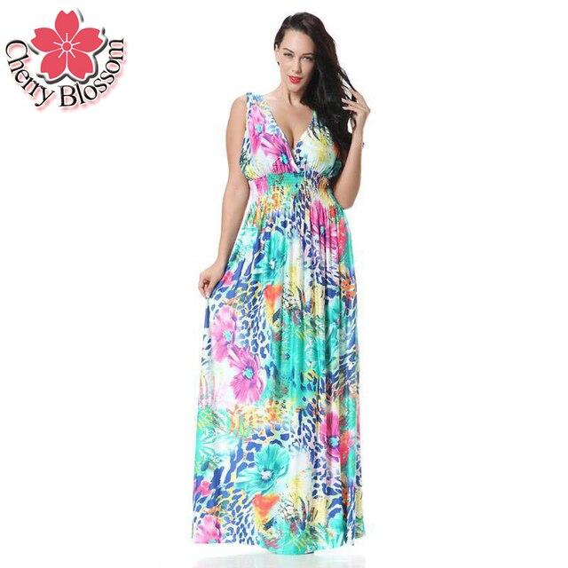 7XL Европа Женщины Dress Лето Новая Мода Шифон Печати Платья Bohamian Пляжные Платья Женщин праздник Длинные Dress Большой Размер