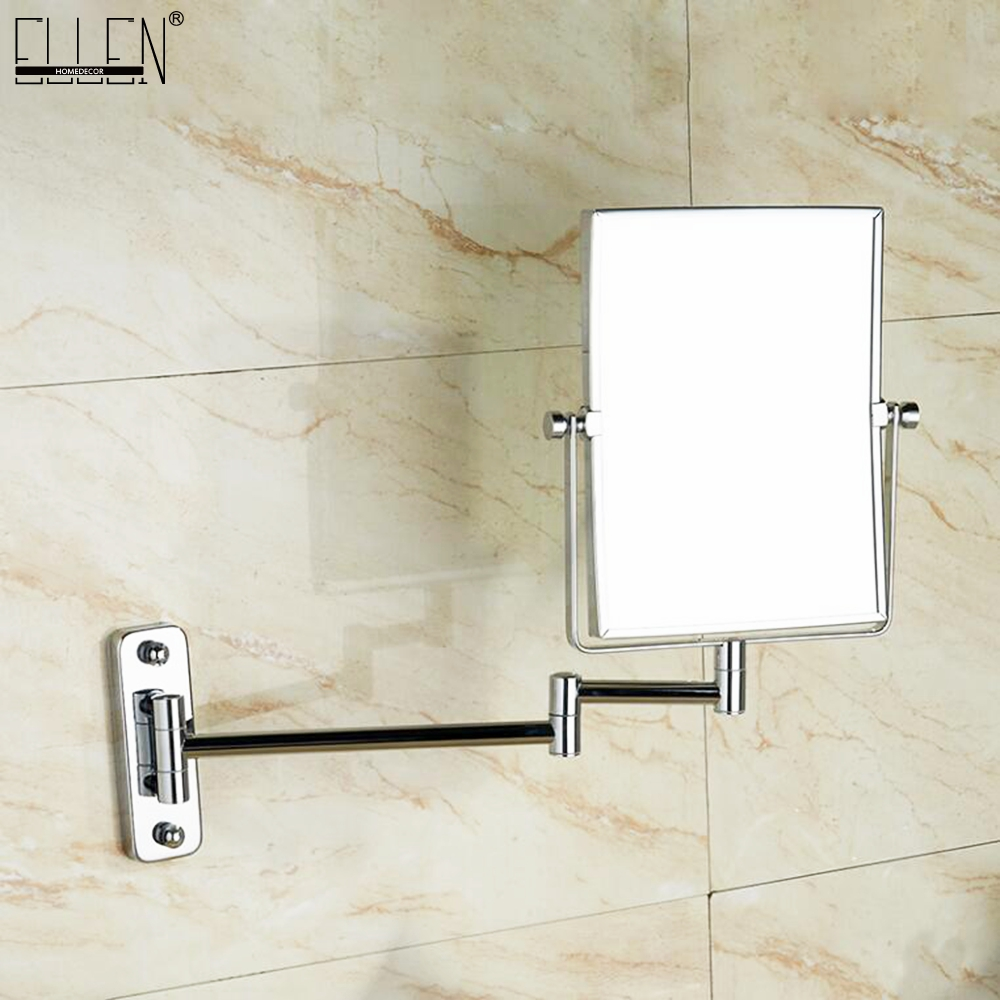 Bathroom Mirror 8 dual Makeup mirror 1:1 and 1:3 magnifier Square Copper Cosmetic Bathroom Double Faced Bath Mirror bakala dual makeup mirrors 1 1 and 1 3 magnifier copper cosmetic bathroom double faced bath mirror wall mirror br 6738