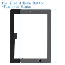 ALANGDUO для iPad 4 A1458 A1459 A1460 Apple Touch Экрана Планшета Панель Передняя Сенсорный Экран с Домашней Кнопки с Закаленное Стекло