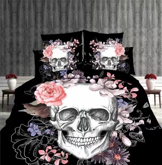 Black White Halloween Indian Skull Bedding Set Bedclothes BedSheets For  Adult Bedroom Decoration Woven Full Queen Size Pink Rose In Bedding Sets  From Home ...