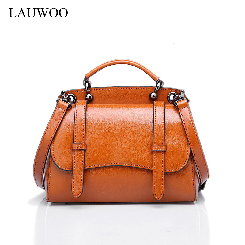 LAUWOO Luxury Elegant Women Genuine Leather Messenger Bag Vintage Handbag For Female Fashion Lady Real Cowskin Shoulder Bag lauwoo fashion women luxury brand handbag female crocodile prints genuine leather shoulder bag lady elegant tassels tote bags