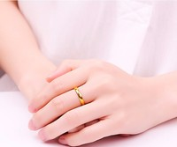 Solid 24K Yellow Gold Ring Women's Smooth Band Ring