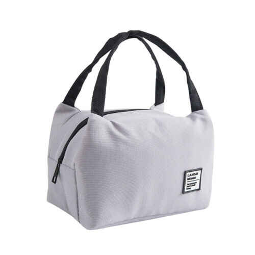 Portable Thermal Lunch Bag Canvas Solid Insulated Cooler Bags Picnic Lunch Bags