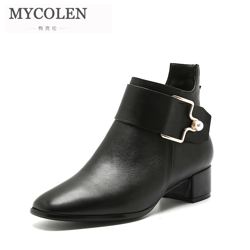 MYCOLEN New 2018 Winter Shoes Women Comfort Chelsea Boots Fashion Women'S Boots Ladies Brand Ankle Boots Female Genuine Leather