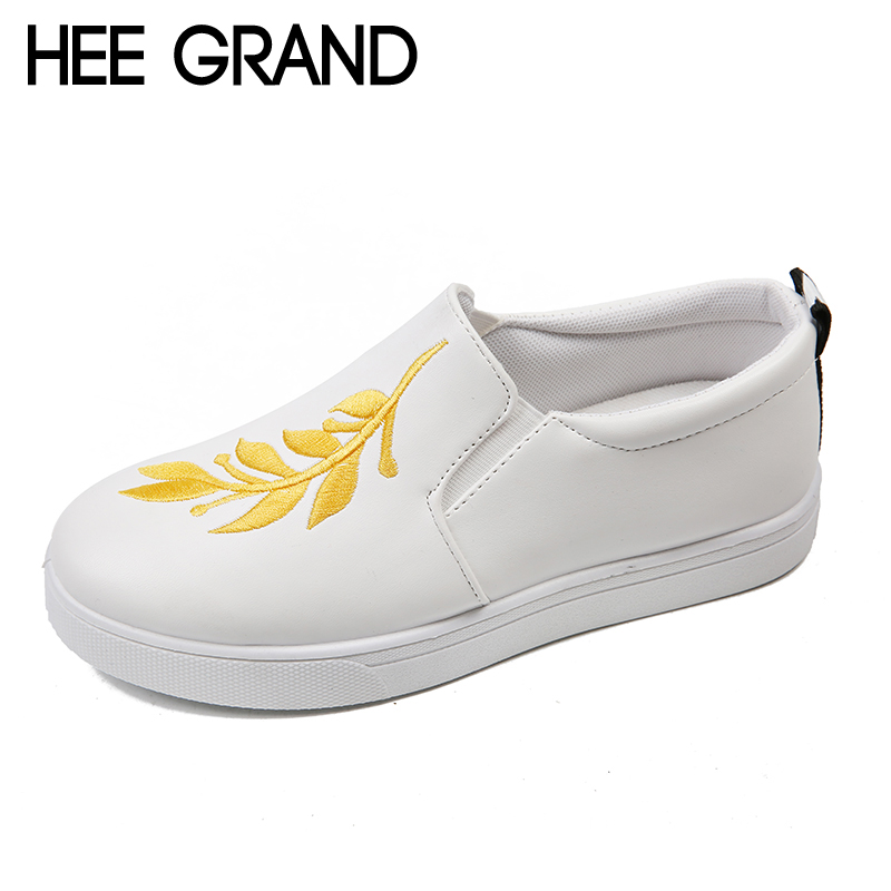 HEE GRAND Embroider Creepers 2018 New Platform Shoes Woman Comfort Loafers Slip On Flats Casual Fahsion Women Shoes XWD6270 phyanic 2017 gladiator sandals gold silver shoes woman summer platform wedges glitters creepers casual women shoes phy3323