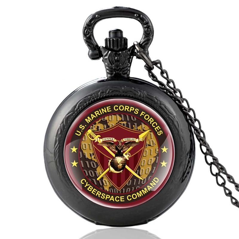 New Fashion Black US Marine Corps Forces Quartz Pocket Watch Vintage Men Women Cyberspace Command Pendant Necklace Watches