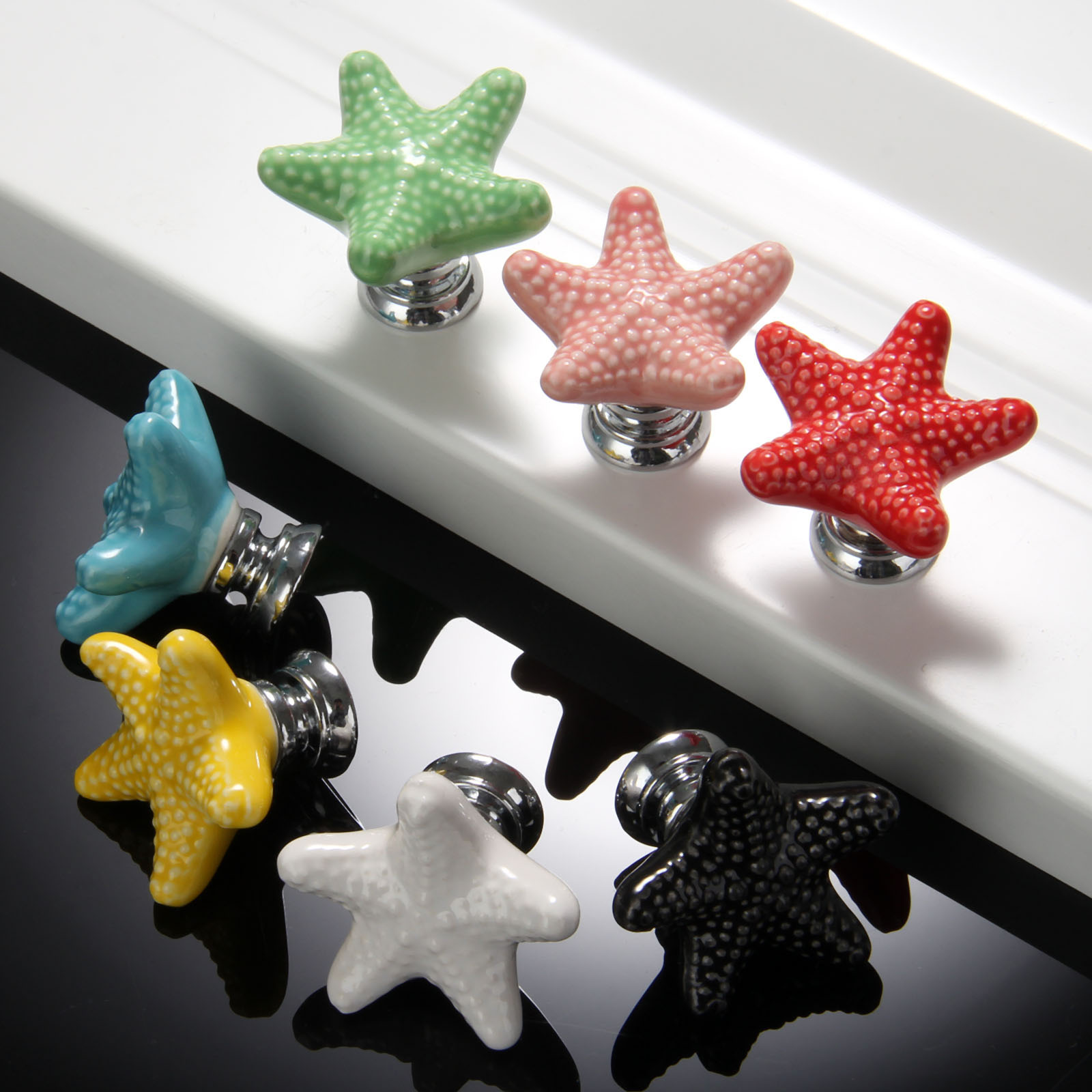 7Pcs/lot Starfish Cabinet Knobs and Handles Furniture Handles Ceramic Door Knob Cupboard Drawer Kitchen Pull Handle Home Decor
